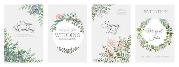 Karty zieleni ślubnej. zielone karty z ramkami kwiatowymi, wieniec i obramowania z modnych roślin, elementy rustykalne vintage.