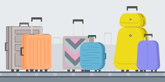 Karuzela bagażu na lotnisku. pas przenośnika bagażu przed odlotem płaski