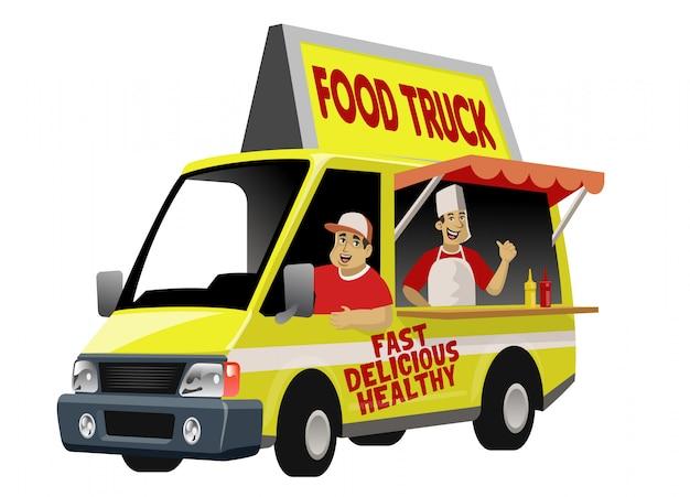 Karykatura foodtrucka z załogą