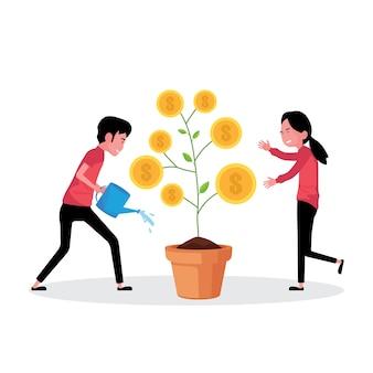 Karykatura przedstawiająca wzrost biznesowy: mężczyzna i kobieta podlewający drzewo pieniędzy
