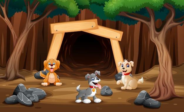 Karykatura przedstawiająca zwierzęta domowe przed jaskinią
