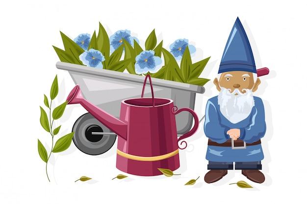 Karzeł z konewką i taczki pełne niebieskich kwiatów