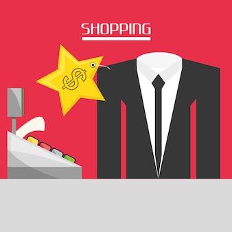 Kasa fiskalna z pojęciem zakupów garnitur
