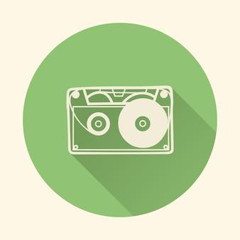 Kaseta ikona ilustracja, wzór muzyki. kreatywna i luksusowa okładka