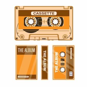 Kaseta magnetofonowa z ilustracją zestawu muzycznego w etui