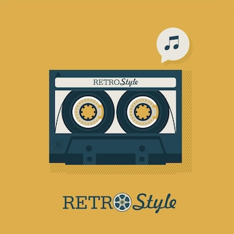 Kaseta. muzyka retro. plakat na imprezę retro