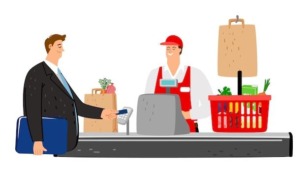 Kasjer i kupujący. klient płaci kartą kredytową w sklepie.