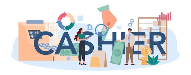 Kasjer ilustracja nagłówka typograficznego