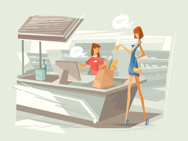 Kasjer w supermarkecie w miejscu pracy. dziewczyna płaci za zakup przy kasie. ilustracja