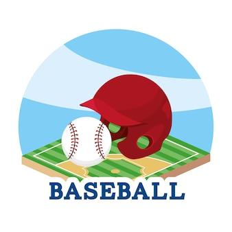 Kask baseballowy i piłka w grze terenowej