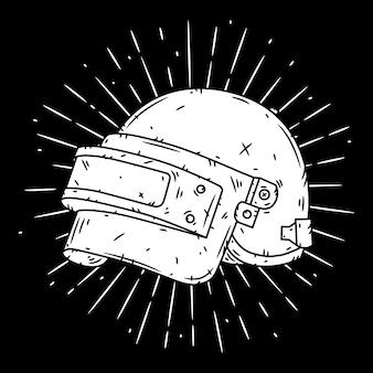 Kask i promienie rozbieżne. ilustracja.