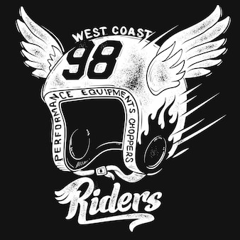 Kask motocyklisty, nadruk na koszulce.