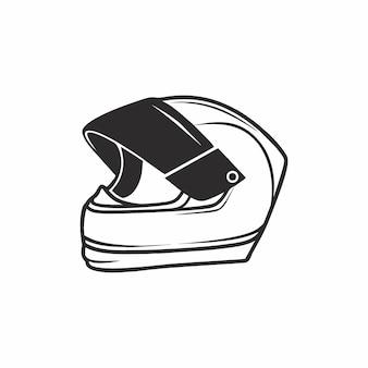 Kask motocyklowy w stylu czarno-białej grafiki. widok z boku ikony kask, na białym tle na białym tle. ilustracja wektorowa dłoni doodle. sprzęt, ochrona i bezpieczeństwo.