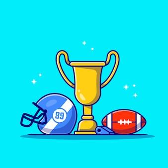 Kask, piłka do rugby, shistle i złote trofeum