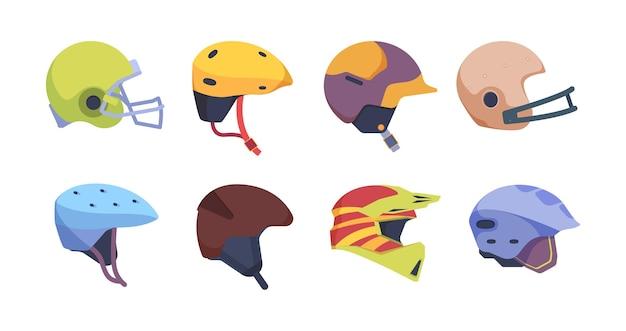 Kask sportowy. kolekcja ilustracji wektorowych kask bezpieczeństwa motocykl wypadek. kolorowy kask baseballowy i hokejowy