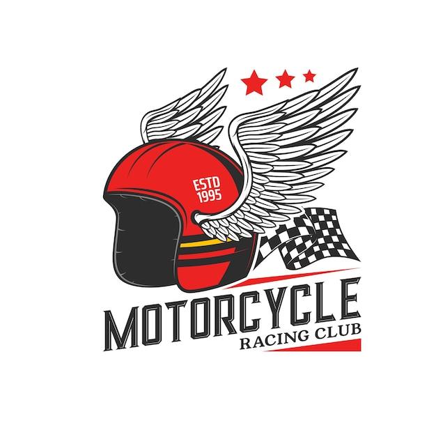 Kask wyścigowy z ikoną skrzydła. wyścig motocyklowy, motocross lub klub rowerzystów, wyścigi motocyklowe rocznika godła lub ikona wektora ze skrzydlatym kaskiem, start i koniec flagi w szachownicę
