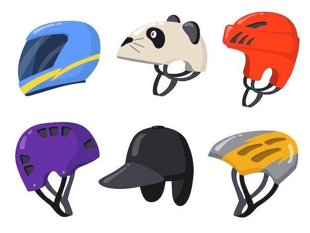 Kaski sportowe dla rowerzystów i rowerzystów. kreskówka rocznika ochrona motocykla, motocykla lub samochodu na białym tle kolekcja ilustracji wektorowych. elementy projektu dla koncepcji wyścigu