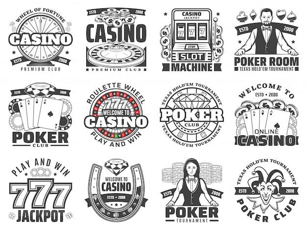 Kasyna gier hazardowych na białym tle ikony