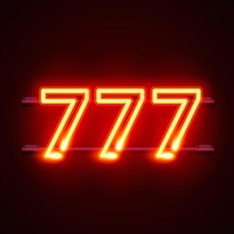 Kasyno 777 neonowy szyld zwycięzca potrójne siódemki ikona jackpota kasyna szczęśliwa liczba