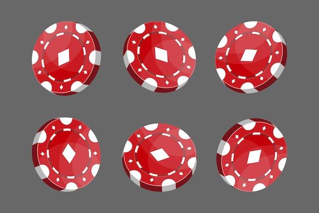 Kasyno czerwone żetony do pokera lub ruletki. elementy do projektowania logo, strony internetowej lub tła. ilustracja wektorowa.