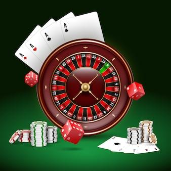 Kasyno do gry w karty i żetony do pokera w ciemności.