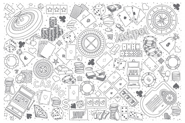 Kasyno doodle wektor zestaw
