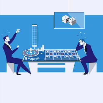 Kasyno, hazard koncepcja ilustracji wektorowych w stylu płaski