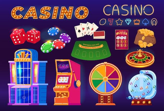 Kasyno, hazard zestaw ilustracji z kreskówek, jackpot na pieniądze, poker, szansa na grę fortuny.