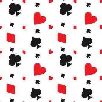 Kasyno i poker wzór z garniturami karty. ilustracja wektorowa