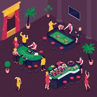 Kasyno i uprawiać hazard isometric tło z symbolami ilustracyjnymi grzebaka i rulety