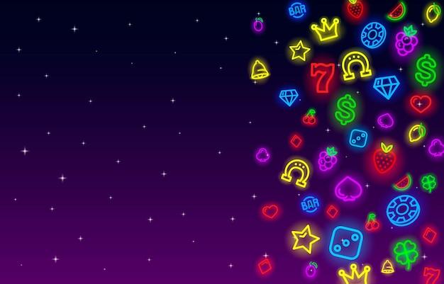 Kasyno ikony kolekcji neon, zestaw znak gniazda, noc vegas