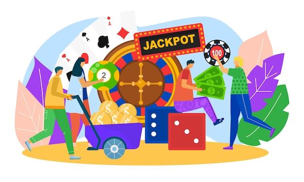 Kasyno, ilustracji wektorowych. gra szczęścia dla postaci mężczyzny, kobiety, zwycięzcy jackpota ze złotymi monetami, projekt hazardu online. koło fortuny, poker, kości