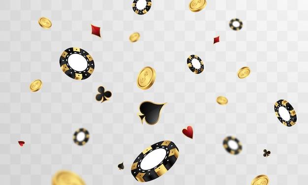 Kasyno luksusowe zaproszenie vip z konfetti celebration party hazard transparent tło.