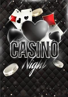Kasyno noc banner szablon lub projekt ulotki z kart do gry i monet
