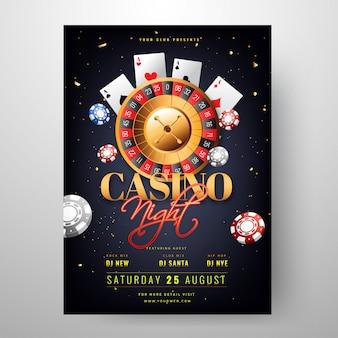 Kasyno Noc strona zaproszenie projekt karty z kołem ruletki il