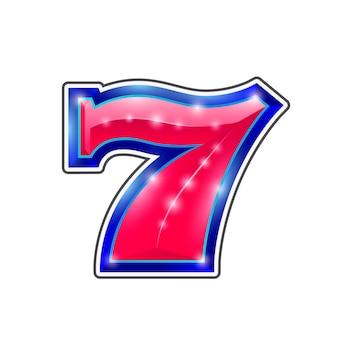 Kasyno numer 7 ikona znak gry. ilustracja wektorowa
