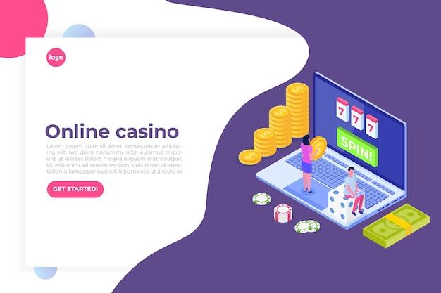 Kasyno online, hazard online, ilustracja izometryczna aplikacji do gier