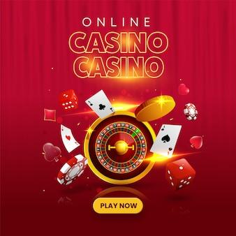 Kasyno online zagraj teraz koncepcja z kołem ruletki 3d, złote monety, żetony do pokera, kości i karty do gry na czerwonym tle.