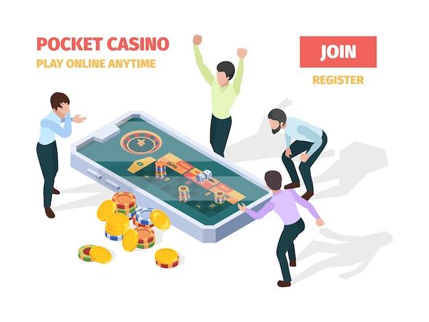 Kasyno online. zwycięzcy szczęśliwi szczęśliwi ludzie grający w ruletkę w blackjacka na smartfonach i tabletach izometryczna koncepcja gry. kasyno online, zwycięzca w ruletce, szczęśliwa ilustracja gry