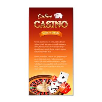 Kasyno pionowy baner, ulotka, broszura na temat kasyna z kołem ruletki, kartami do gry i kostkami