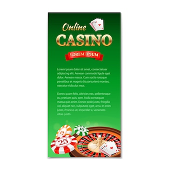 Kasyno pionowy baner, ulotka, broszura na temat kasyna z kołem ruletki, kartami do gry i żetonami