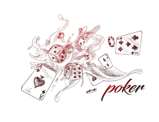Kasyno poker szablon projektu ręcznie rysowane szkic ilustracji wektorowych
