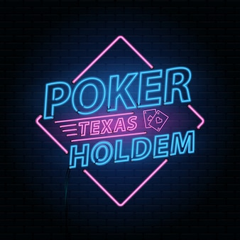 Kasyno poker tło z neonowym napisem alfabetu