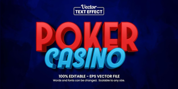 Kasyno pokerowe, edytowalny efekt tekstowy