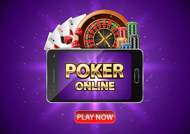 Kasyno pokerowe online z telefonem komórkowym. baner pokerowy z żetonami, kołem ruletki i kartami do gry. .