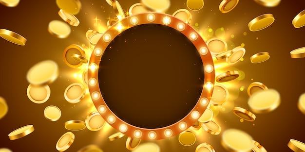 Kasyno rama lampy ze złotymi realistycznymi monetami 3d.