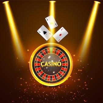 Kasyno realistyczne tło z kołem ruletki i kartami do gry