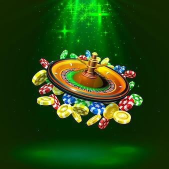 Kasyno ruletka duże wygrane monety na czerwonym tle. ilustracja wektorowa