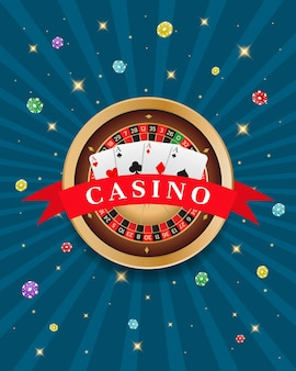 Kasyno turniejowe karty do ruletki i baner z żetonami może być używany jako ulotka plakatowa lub reklama