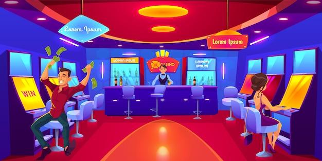 Kasyno, w którym ludzie uprawiają hazard grając na automatach, wygrywają, tracą pieniądze.